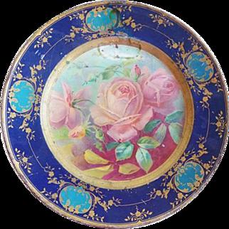 Vintage Tin Dresden Art Plate No. 210 ROSES