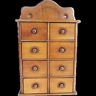 Vintage 8 Drawer Spice Cabinet Box G. M. Barrett Co.