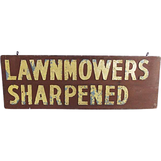 Vintage Lawnmowers Sharpened Wood Sign Galvanized Letters