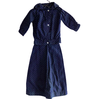 Antique Indigo Blue  Calico  Pin Dot 2 Piece Doll Dress