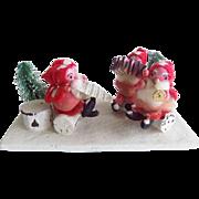 Vintage Christmas Spun Cotton Santa Band Display Japan