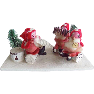 Vintage Christmas Spun Cotton Santa Band Display Japan
