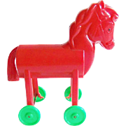 Rosbro Red Trojan Horse Candy Container Vintage Christmas