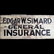 Vintage Wooden Insurance Advertising Sign