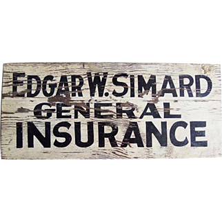 Vintage Wooden Insurance Advertising Sign