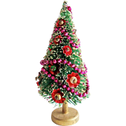 Vintage Christmas Bottle Brush Tree With Ornaments Made in Japan