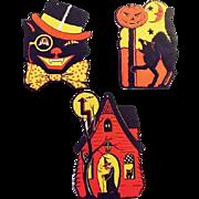 Vintage Halloween DieCut Die Cut Decoration Luhrs Cats Witches Pumpkins
