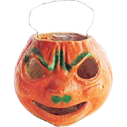 Vintage Halloween Paper Mache Angry Pumpkin Face