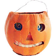 Vintage 1920's German Pressed Cardboard Halloween Jack-O-Lantern with Original Paper Insert
