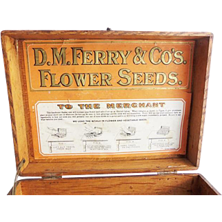 Antique General Store D.M. Ferry & Co. Oak Seed Box