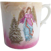 Antique German Porcelain Cup Christmas Tree and Angel