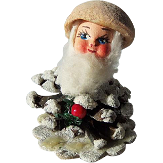 Vtg PineCone Elf Boy Santa Xmas Ornament Spun Cotton Hat Composition Face ITALY
