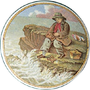 English Prattware Pot with Painted Lid Young Boy Fishing at the Sea