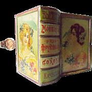 Antique Small  Lithograph Turkish Tin Book Shape Box