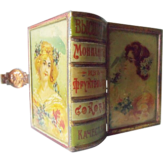 Antique Small  Lithograph Turkish Tin Book Shape Box