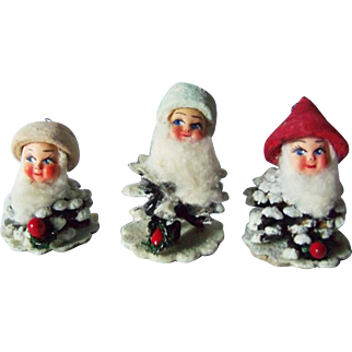 Vintage PineCone Elf Santa Xmas Ornaments Spun Cotton Hat Composition Face ITALY