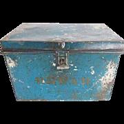 Antique Primitive Blue Tin Bread Box