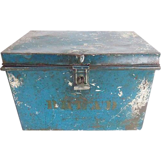 Antique Primitive Blue Tin Bread Box