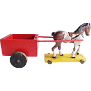 Vintage Folk Art Primitive Pull Toy  Horse and Cart