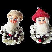 2 Vintage Pine Cone Santa Elf Christmas Ornaments