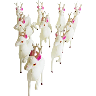 Vintage Christmas Celluloid Deer Herd of 10 Made in Japan NOS