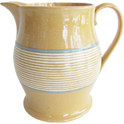 Antique Yellow Ware Blue and White Banded Pitcher