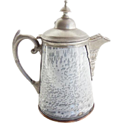 American Grey Graniteware and Pewter Coffee Pot Antique