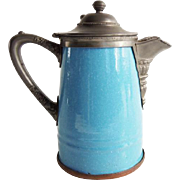 American Blue Speckled Graniteware and Pewter Coffee Pot Antique