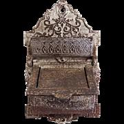 Victorian Cast Iron Match Holder Safe Antique