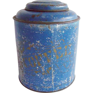 Antique Blue Coffee Container Tin Can Hinged Lid