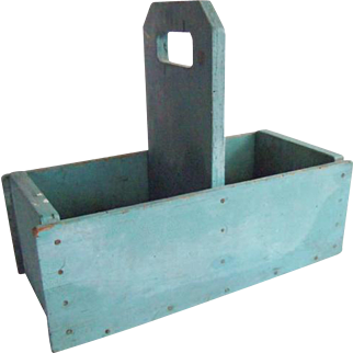 Old Blue Wooden Divided Tote Box