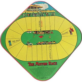 Old Wolverine Tin Litho Game Board 'The Motor Race'