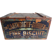 Antique Cartwright Borden Biscuit Crate Worcester Mass.