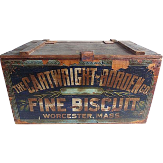 Antique Cartwright Borden Biscuit Crate Worcester Mass.