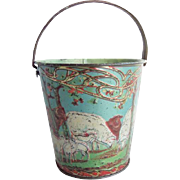 Antique Embossed Tin Lithographed Sand Pail Flock of Sheep and Shepard Boy