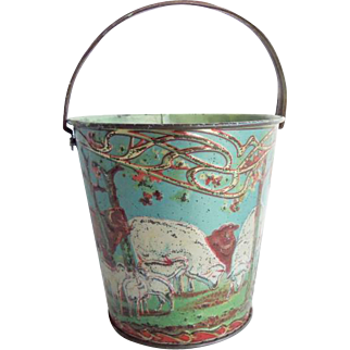 Antique Embossed Tin Lithographed Sand Pail Flock of Sheep and Shepard Boy Flute