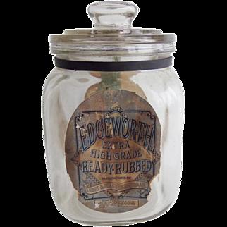 Rare Antique Blown Glass Edgeworth Tobacco Jar Humidor