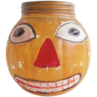 Antique Halloween Glass JOL Jack-O-Lantern Pumpkin Candy Container