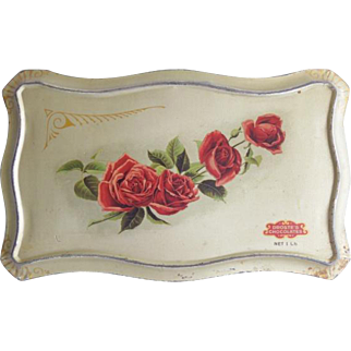 Vintage Rose Droste Chocolate Candy Tin