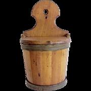 Antique Wooden Barrel Shaped Salt Box Wall Hanging
