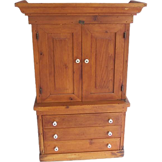 American Primitive Pine Apothecary Cabinet Cupboard Multiple Drawers
