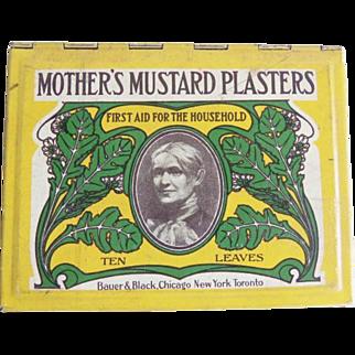 Vintage Mother's Mustard Plasters Tin Bauer & Black