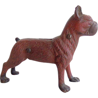 Vintage Cast Iron Boxer Dog Bank