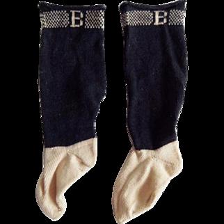 Antique Burson B Black Doll Socks