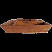 Vintage Primitive  Wooden Divided Carrier Utensil Tote Box