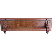 Antique Victorian Wooden Walnut Towel Rack Wall Holder Hanger