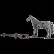Vintage Standing Horse Weathervane Original Iron Lightening Rod Arrow Bullet Holes