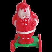 Vintage Rosbro Hard Plastic Christmas SANTA Candy Holder Pull Toy on Rolling Cart