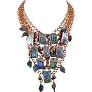Gold Plated Chain Mail Necklace with Pearlized Wood