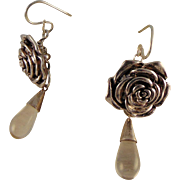 Pewter Rose Button and Polished Quartz Drop on Sterling Silver Earrings